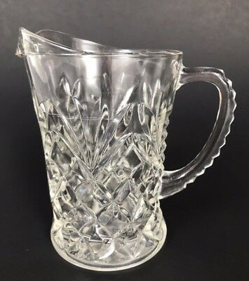 Small Vintage Pressed Glass Pitcher in Diamond Fan Pattern Scalloped Handle