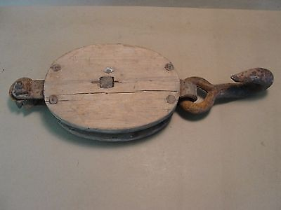 Vintage Steam Punk Rustic Cast Iron and Wood Pulley Barn Farm