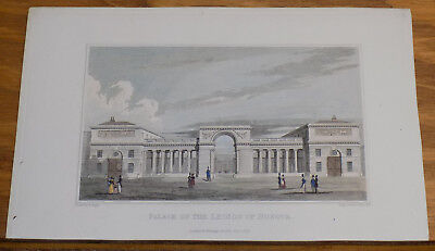 1828 Antique COLOR Print///PALACE OF THE LEGION OF HONOR