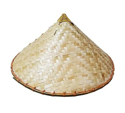 Coolie Chinese Conical Asian Hat Japanese Straw Sun Rice Bamboo Farmer Costume