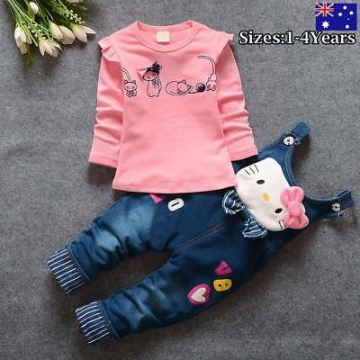 Girls Kid Hello Kitty Cotton Top and Soft Denim Pants Pullover SET size 1,2,3,4