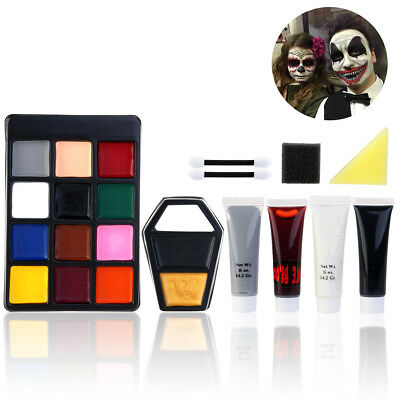 Pro Face Paint 12Color Palette Makeup Brush Fun Halloween Cosmetic Painting Kit