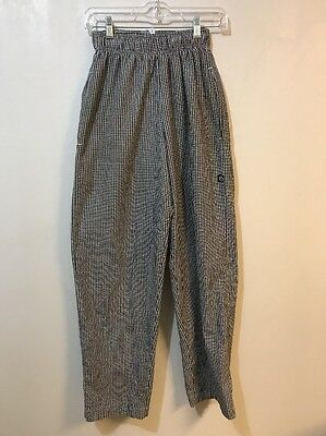 Chef Works Adult XS Black White Check Baggies Pants
