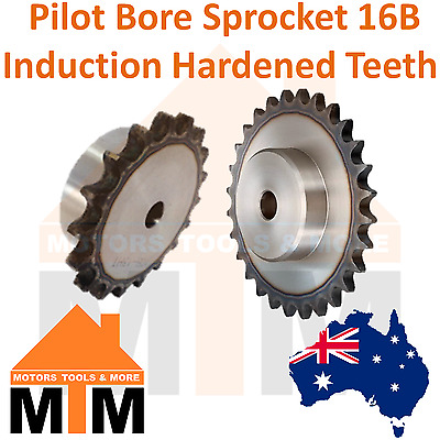 Pilot Bore Sprocket 16B BS Induction Hardened Teeth Industrial Quality 16B-1