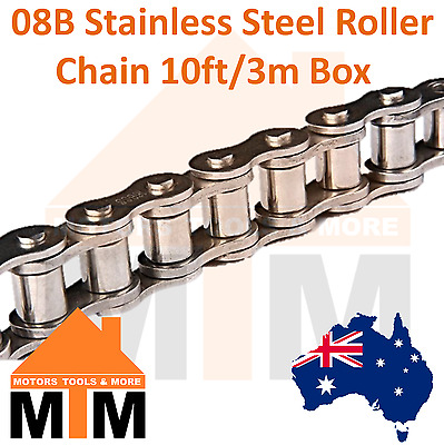 """INDUSTRIAL ROLLER CHAIN 08B- 1/2"""" PITCH Stainless Steel 10Ft 3m Box 08B"""