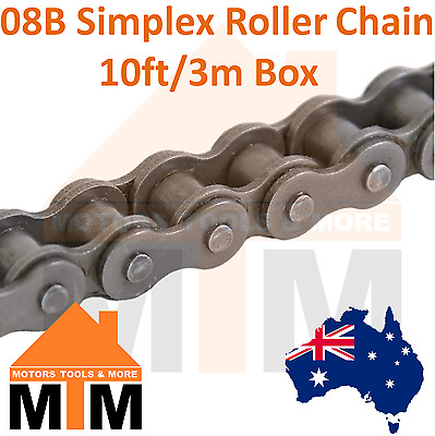 "INDUSTRIAL ROLLER CHAIN 08B-1 - 1/2"" PITCH SIMPLEX 10Ft 3m Box 08B"