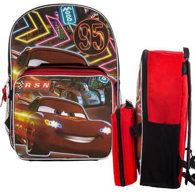 "Disney Pixar Cars Kids 16"" Backpack & Insulated Lunch Box Set McQueen School Bag"
