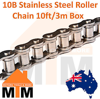 "INDUSTRIAL ROLLER CHAIN 10B- 5/8"" PITCH Stainless Steel 10Ft 3m Box 10B"
