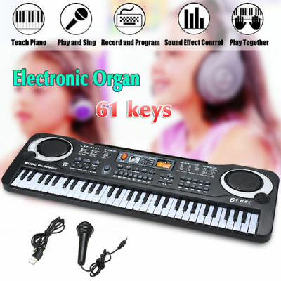 61 Keys Kid Electronic Keyboard Music Electric Piano Organ Microphone Adapter US