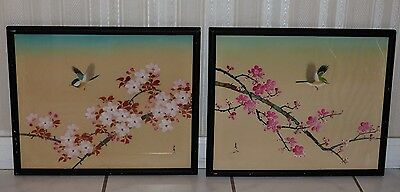 Lot Of 2 Asian Oriental Satin-Silk Painting Birds Birds Cherry Blossoms Signed