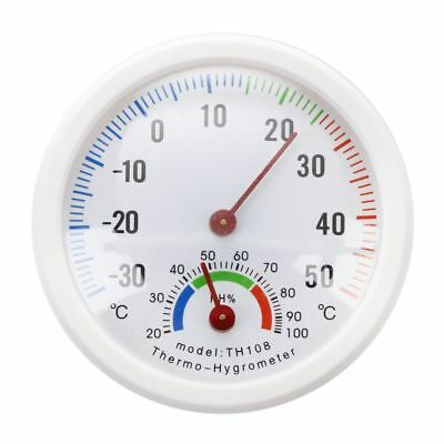 Thermometer hygrometer needle round dial TESTER interior exterior white I2A6