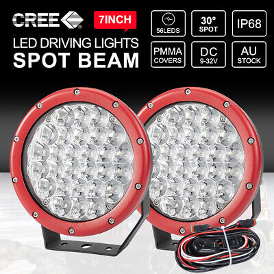 2x 7 inch CREE Spot LED Driving Lights Round Off Road 4x4 Spotlights Red