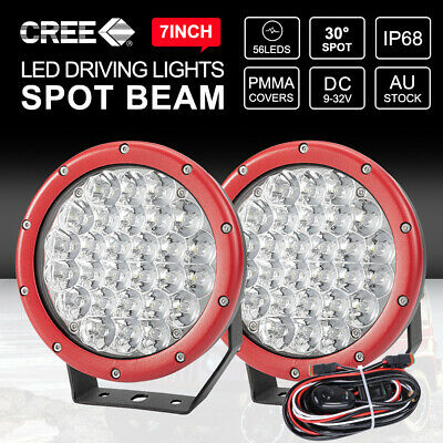 Pair 7 inch LED Driving Lights CREE SPOT Round Offroad 4x4 Spotlights RED 12V24V