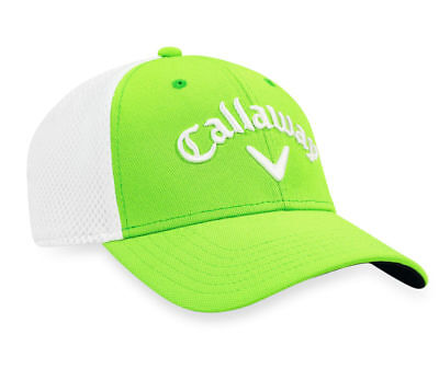 NEW Callaway Golf Tour Authentic Mesh Lime Green/White Fitted L/XL Hat/Cap