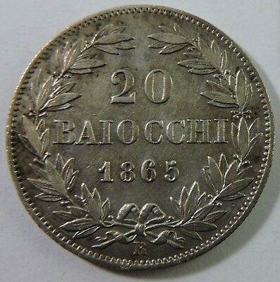 Papal States 1865-R 20 Baiocchi Silver Coin