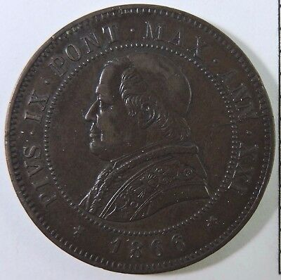Papal States 1866-R 4 Soldi Copper Coin