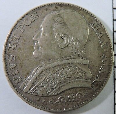 Papal States 1866-R 2 Lire Silver Coin