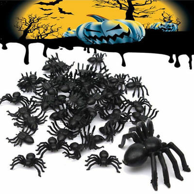 50X 100X Plastic Black Spider Trick Toy Party Halloween Haunted House Prop Decor