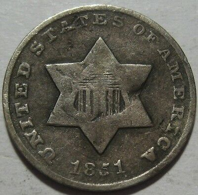 = 1851-O THREE Cent Piece, NEW ORLEANS Mint, FREE Shipping