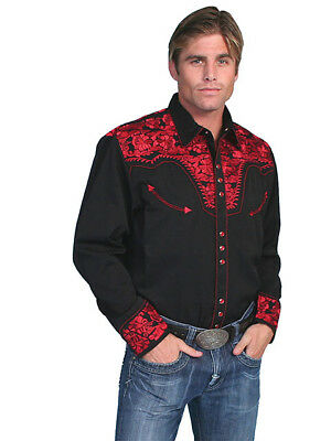 Scully Men/'s Black Embroidered Skull Snap Up Western Shirt P-864  SALE!!