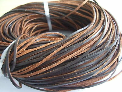 Brown 3x2mm Flat Genuine Real Leather Cord String Lace Thong Jewellery Making