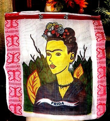"""Frida Khalo Traditional Mexican Bag  19""""x22"""" Very unique White Red New!"""