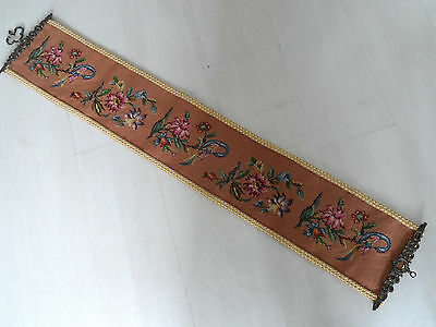 Vintage Fabric Floral  Woolwork Tapestry  Bell Pull With Brass Looking Mounts