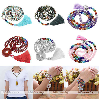 108 Buddha Bead Mala 7Chakra Gemstone Tassel Meditation Prayer Bracelet Necklace