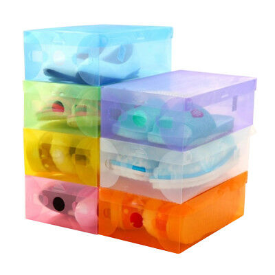 5 COLOR Foldable Clear Plastic Storage Shoe Organizer Boxes Stackable Tidy BOX