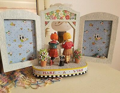 """Mary Engelbreit Picture Frame-""""Make A Wish"""" Music Box-Girls w/Dog dropping coins"""