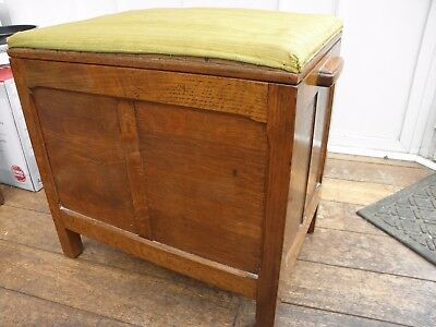 Vintage 30's 40's Oak Chest Coffer Blanket Box Stool - Small Upholstery Project