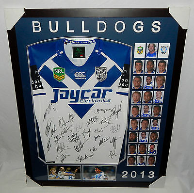 2013 Team Signed Canterbury Bulldogs Framed NRL Rugby League Jersey