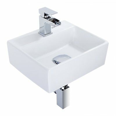 Wall Hung Square Ceramic Small Compact Bathroom Cloakroom Basin Washing Sink