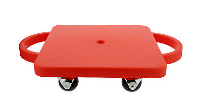 """Get Out!™ Plastic Scooter Board in Red 12"""" x 12"""" Inches with Wide Handles"""