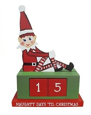"""6.5"""" Wooden Elf Christmas Countdown with Changeable Block Dates"""