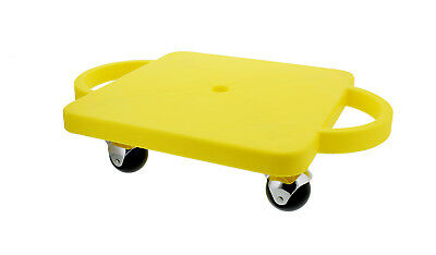 """Get Out!™ Plastic Scooter Board in Yellow 12"""" x 12"""" Inches with Wide Handles"""