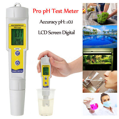 Portable Pen Type LCD Digital pH TEMP Meter Wine Water Quality Monitor Tester