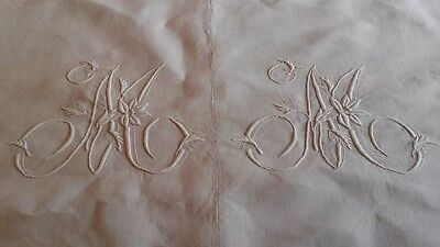 Drap 03 ancien lin débXXème 203x300 monogr MM OLD EMBROIDERED LINEN SHEET Sabana