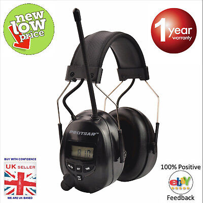 Protear AM/FM Radio Ear Defenders with AUX IN & Cable.Brand New 1 Year Warranty.
