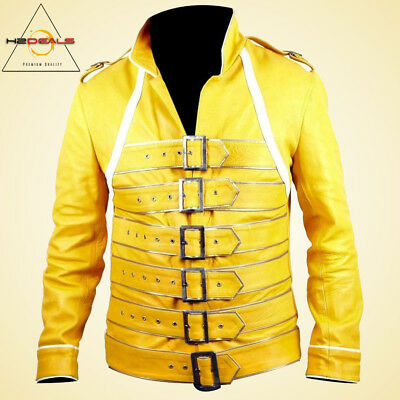 Freddie Mercury Yellow Concert Queen's  Yellow Halloween Faux Leather Jacket