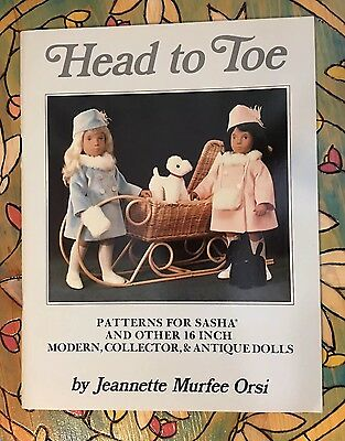 """SASHA Dolls """"Head to Toe"""" 27 Doll Clothes Pattern Book by Jeannette Orsi 1984"""