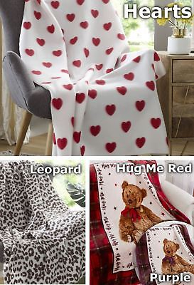 Hearts Leopard Bear Throw Blanket Soft Bed Sofa Throwover Winter Warm Teddy New