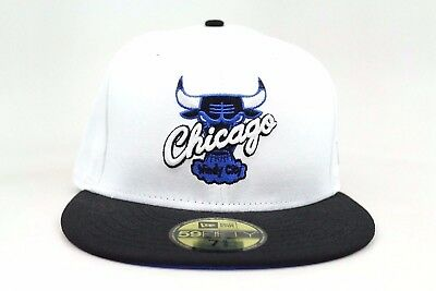 7306761cdd0 Chicago Bulls White Black Azure Blue AJ VI Sport Blue New Era 59Fifty  Fitted Hat