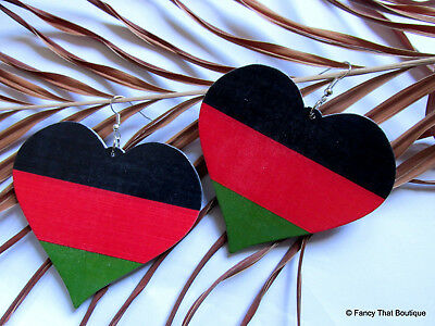 Love Mama Africa Roots Large Heart Afro Centric Earrings in Pan-African colours