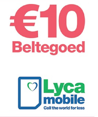 €10 LYCAMOBILE NL TOPUP TOP-UP VOUCHER Prepaid Prepay Pay As You Go Lyca Holland