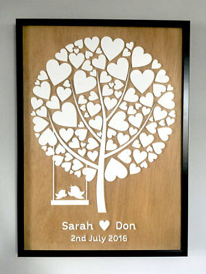 Personalised Wedding Guest Book // Hearts and Love Birds // White Acrylic & Wood