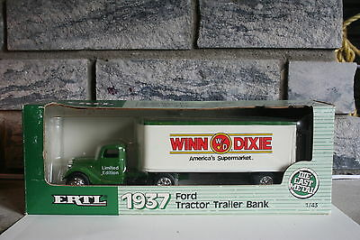"Vintage ""winn Dixie"" 1937 Ford Tractor Trailer Bank - Ertl 1988 1/43 Scale"