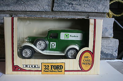 "Vintage ""publix"" 32 Ford Panel Delivery Bank - Ertl 1989 1/25 Scale Diecast"