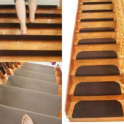 Non-slip Adhesive Carpet Stair Treads Mats Staircase Step Rug Protection Cover