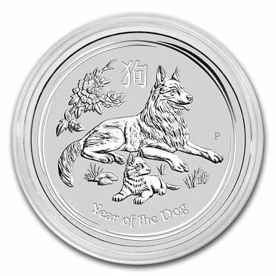 2018 Australian Lunar Series II Year Of The Dog 1/2 oz Silver BU Silver Coin